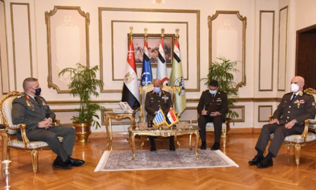 Minister of Defense Mohamed Zaki and Chief of Staff Mohamed Farid in meeting with Chief of the Hellenic National Defense General Staff Konstantinos Floros in Cairo on January 18, 2021. Press Photo
