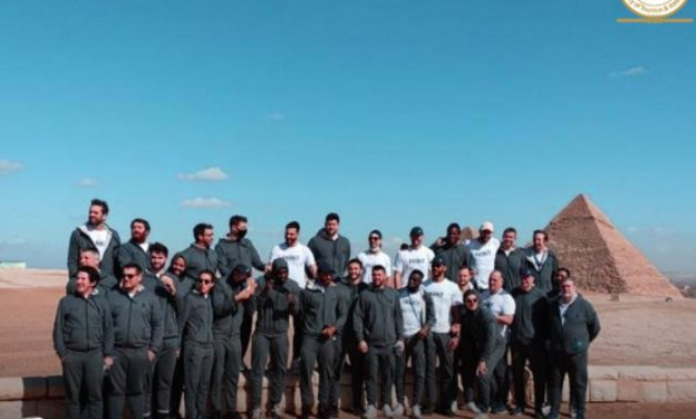 French handball team during their visit to the Giza Pyramids - Min. of Tourism & Antiquities
