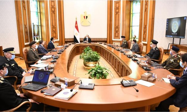 Egypt's President Abdel Fattah El Sisi meets with meeting with PM Mostafa Madbouly, Interior Minister Mahmoud Tawfik, Defense Minister Mohamed Zaki and top officials - Presidency