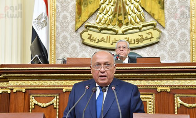 Foreign Minister Sameh Shoukry at the parliament - Photo by Khaled Mashaal for ET