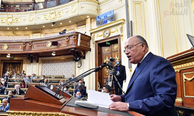 Foreign Minister Sameh Shoukry at Egyptian Parliament - Khaled Mashaal to ET