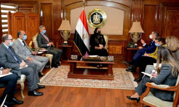Minister of Trade and Industry Nevine Gamea in meeting with Swiss Ambassador Paul Garnier on January 27, 2021. Press Photo