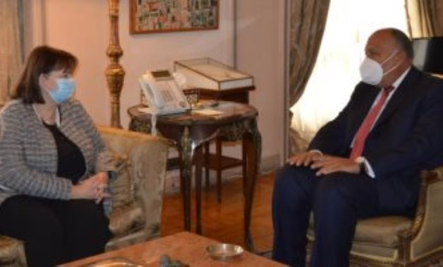 Minister of Foreign Affairs Sameh Shokry and EU Special Representative for the Middle East Peace Process Susanna Terstal in Cairo on January 27, 2021. Press Photo