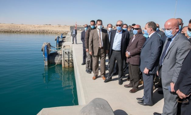 Minister of Transportation Kamel al-Wazir checking up the upgrade works carried out in Ain Sokhna Port on February 2, 2021. Press Photo