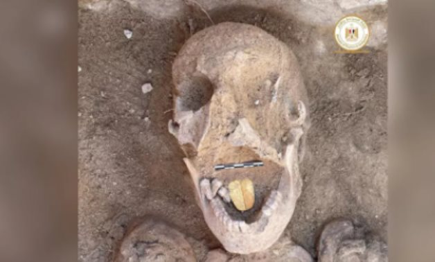The mummy with the golden tongue discovered in West Alexandria - Min. of Tourism & Antiquities