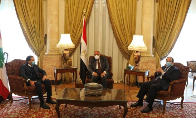 Lebanese Acting Prime Minister Saad al-Hariri in meeting with Minister of Foreign Affairs Sameh Shokry and Chief of General Intelligence Agency Abbas Kamel in Cairo on February 3, 2021. Press Photo
