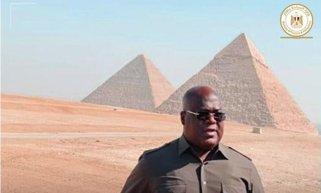 Congolese President during his visit to the Giza Pyramids - Min. of Tourism & Antiquities