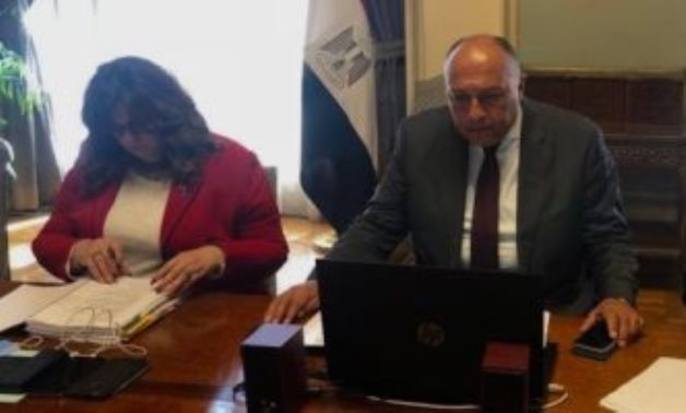 Minister of Foreign Affairs Sameh Shokry in the meetings of the Executive Council of the African Union held via video conferencing on February 3, 2021. Press Photo