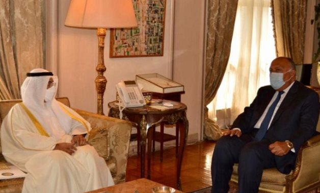 : Egyptian Foreign Minister Sameh Shoukry and Secretary General, Cooperation Council for the Arab States of the Gulf (GCC). Dr Nayef Falah Mubarak Al-Hajraf met on Sunday- press photo