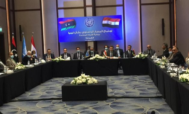 The opening session of the third meetings of the Libyan Constitutional Track taking place in Egypt's Hurghada on February 9, 2021. Press Photo