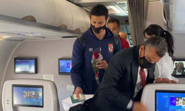 Al-Ahly SC team is heading back to Cairo on board special EgyptAir flight - press photo
