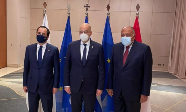 The foreign ministers of Greece, Cyprus and Egypt meet in Athens - Egyptian Foreign Ministry