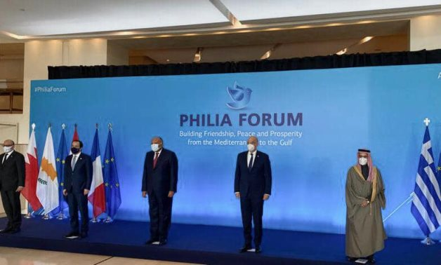 The Philia Forum held between the foreign ministers of Greece, Cyprus, Bahrain, Egypt, Saudi Arabia, and the UAE in Athens on Thursday.  - Egyptian Foreign Ministryistry