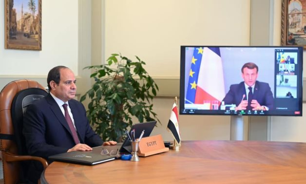 President Abdel Fattah El Sisi speaks during a virtual meeting under the auspices of the African Union – Presidency