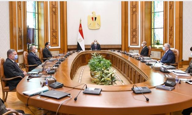 President Sisi meets with Prime Minister Mustafa Madbouli, Minister of Agriculture El Sayed Al-Quseir, Minister of Water Resources and Irrigation Moahmed Abdel-Atti, -press photo