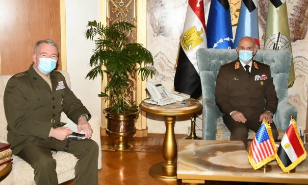 Egypt's Armed Forces Chief of Staff Mohamed Farid (R) receives head of the US military's Central Command Kenneth McKenzie (L) in Cairo – Military spox