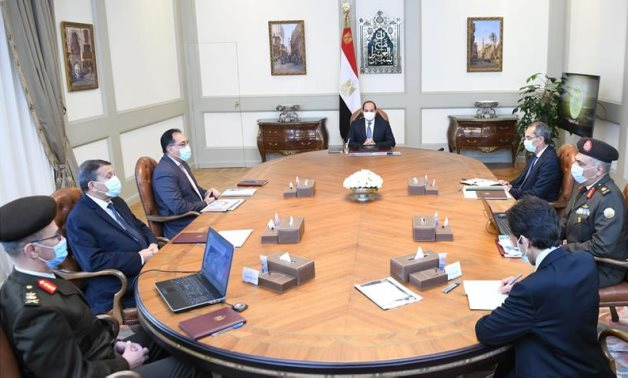 Egypt's President Abdel Fattah El Sisi meets with Prime Minister and state officials to follow up on technological infrastructure of government district – Presidency