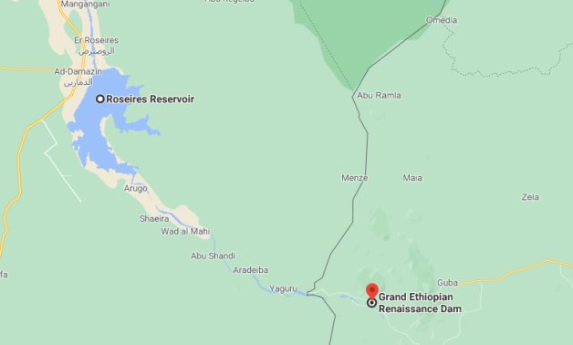 A map shows the locations of Roseires reservoir in Sudan and Grand Ethiopian Renaissance Dam- A screenshot of Google Maps