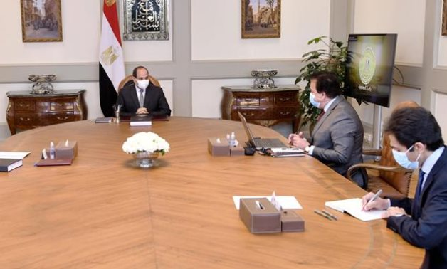 President Abdel Fattah El Sisi meets with Prime Minister Mustafa Mabdouli and Minister of Higher Education Khaled Abdel Ghaffar on Sunday- press photo
