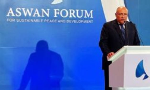 Minister of Foreign Affairs Sameh Shokry in 2nd edition of Aswan Forum for Sustainable Peace and Development on March 1, 2021. Egypt Today/Hassan Mohamed