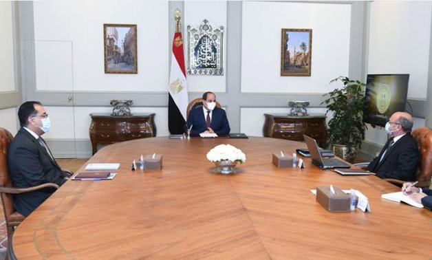 Egyptian President Abdel Fattah El-Sisi meets with Prime Minister Mostafa Madbouly and Minister of Justice Omar Marwan on Monday – Presidency