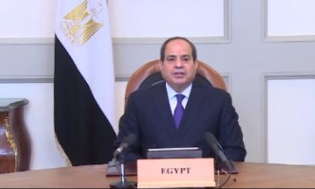 President Abdel Fatah al-Sisi delivering a pre-recorded speech on the first day of the second edition of Aswan Forum for Sustainable Peace and Development. Egypt Today/Hassan Mohamed
