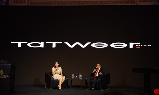 Dr. Ahmed Shalaby, President  & CEO of Tatweer Misr with the presenter, Rana Arafa, during the press conference