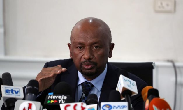 Seleshi Bekele, Ethiopia's Minister of Water, Irrigation and Energy speaks during a news conference on the current status of Great Renaissance Nile Dam construction in Addis Ababa, 2019 - Reuters