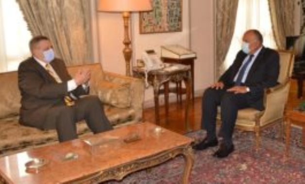 Egypt's Foreign Minister Sameh Shoukry during his meeting with UN Special Envoy for Libya Ján Kubiš,
