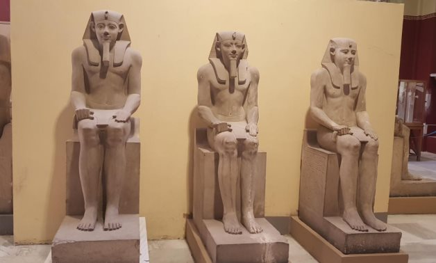 Three statues of King Senusret I - Press Photo