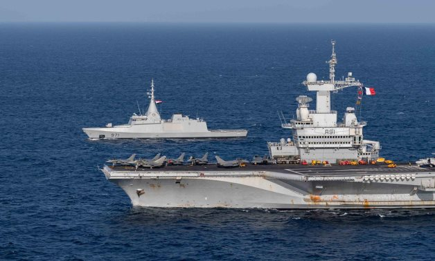 French aircraft carrier Charles de Gaulle participating in joint drills with Egyptian Naval Force in Red Sea in March 2021. Press Photo