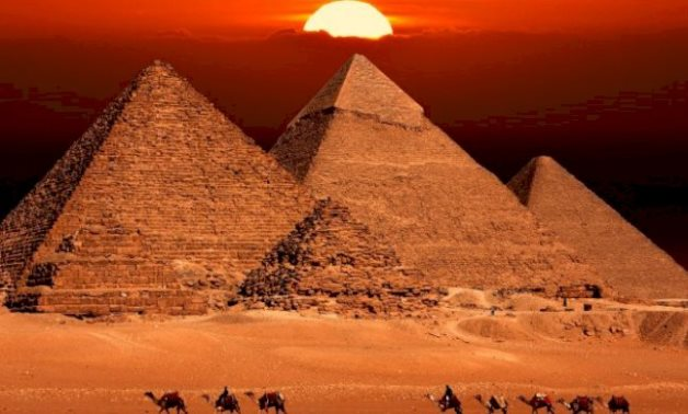 FILE - The Great Pyramids of Giza