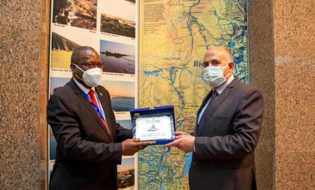 Minister of Water Resources and Irrigation Mohamed Abdel Atti meets with visiting Burundi's Minister of Environment, Agriculture and Livestock Deo-Guide Rurema- Press photo