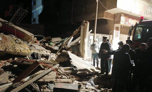 A residential multi-storey building in Gisr el-Suez St., in Heliopolis. collapsed Saturday