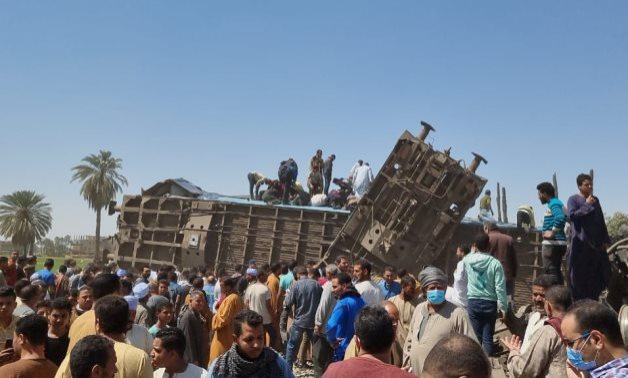 The train collision accident in Upper Egypt- Youm7/Mahmoud Maqboul