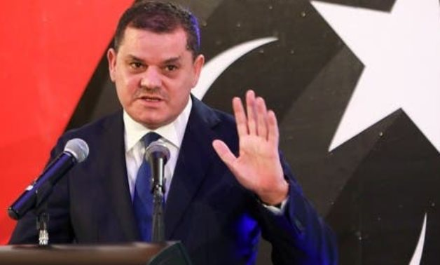 Libya's Prime Minister Abdulhamid Dbeibeh, speaks during a news conference in Tripoli, Libya February 25, 2021. (Reuters)