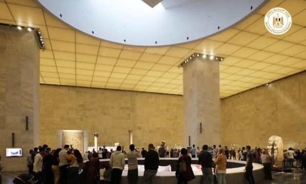 File: Thousands of visitors flock to the National Museum of Egyptian Civilization in Fustat.