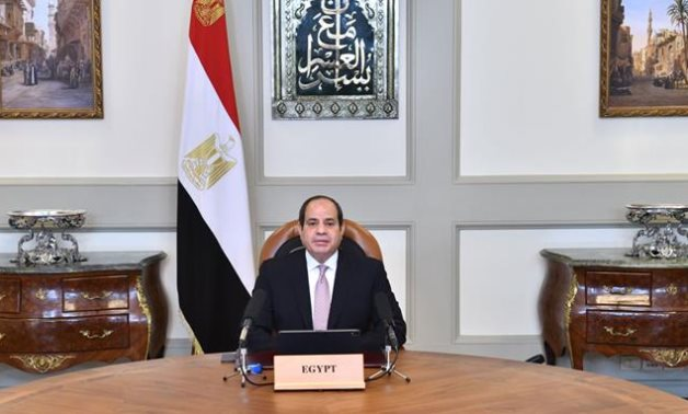 President Abdel Fattah El Sisi gives a speech on  the centenary of the establishment of the Jordanian state on April 11, 2021- Press photo