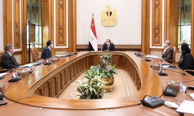 President Abdel Fatah al-Sisi in meeting with ministers on electric vehicles manufacturing localization on April 11, 2021. Press Photo