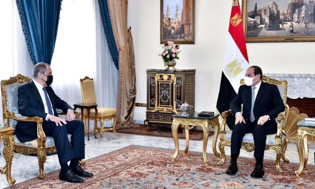 Russian Foreign Minister Sergey Lavrov meets with President Abdel Fattah El-Sisi on Monday in Cairo (Presidency)