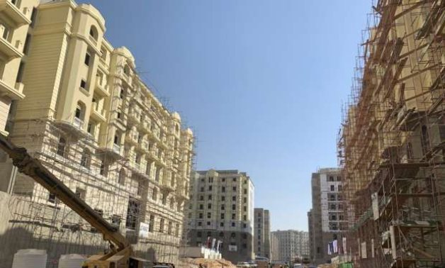 Under progress buildings in Garden City neighborhood located in the New Administrative Capital of Egypt – Press Photo captured on April 19, 2021