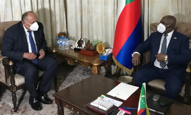 Egypt's Foreign Minister Sameh Shoukry meets with Comoros Azali Assoumani (Egyptian Foreign Ministry)