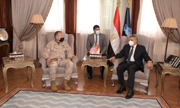 Meeting of Suez Canal Authority Chairman Osama Rabie and U.S. Central Command's Director for Strategy, Plans, and Policy Scott Benedict in Ismailiyah on April 20, 2021. Press Photo