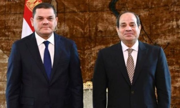 FILE - Egyptian President Abdel Fattah El Sisi receives new Libyan Prime Minister Abdulhamid Dbeibeh in February in Cairo - press photo