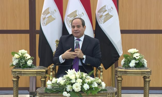 President Abdel Fattah El-Sisi speaks in a meeting with military officials in Moushir Tantawy Mosque after the Friday Prayer – Presidency/screenshot