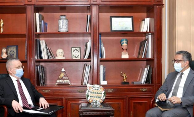 File: Dr. Khaled El Enany, Minister of Tourism and Antiquities, received Ambassador Çyurchi Borisenko of Russia in Cairo at the ministry's headquarters in Zamalek.