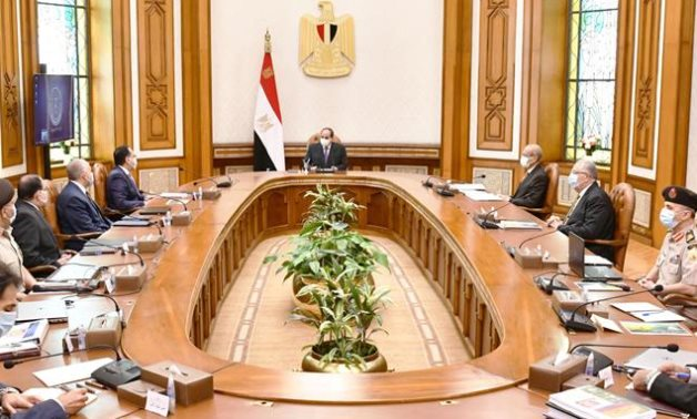 President Abdel Fattah El Sisi meets with the Cabinet on April 26, 2021- press photo