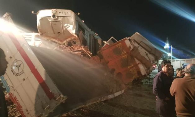 Train no. 115 travelling from Ismailia to Suez crashed into a pickup truck towing a trailer in Suez – Press photo