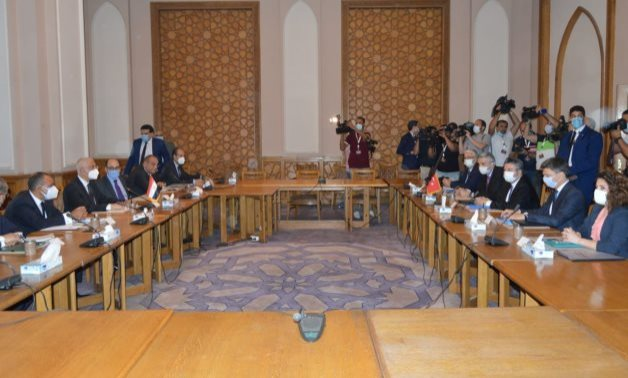 """FILE – Part of """"exploratory consultations"""" between Egyptian and Turkish diplomats in Cairo on May 5, 2021. Press Photo"""