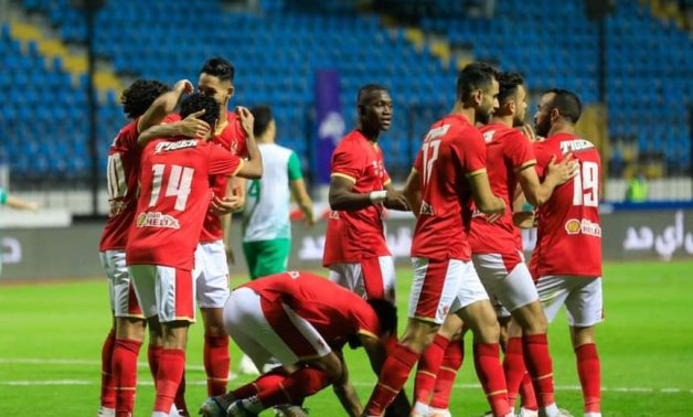 Al Ahly players celebrate Benoun's opening goal, courtesy of Al Ahly website